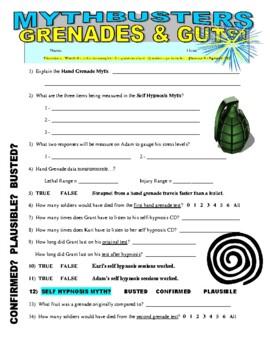 Mythbusters : Grenades & Guts (science video worksheet / no prep)