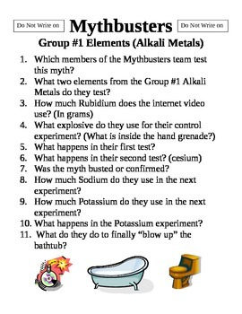 Mythbusters Group#1 Elements  Alkali Metals