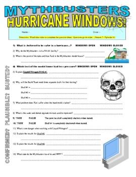 Mythbusters : Hurricane Windows (video worksheet)