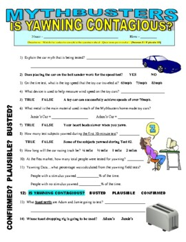 Mythbusters: Is Yawning Contagious? (science video worksheet / sub plans)