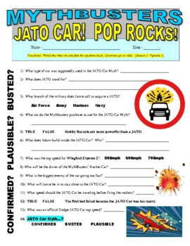 Mythbusters : Jato Car and Pop Rocks Candy (video worksheet)