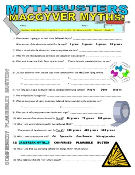 Mythbusters : MacGyver Special (video worksheet)