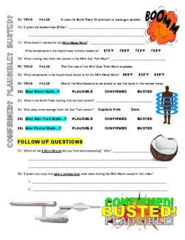 Mythbusters : Mini Myth Mayhem (video worksheet)