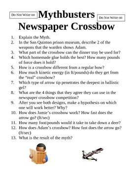 Mythbusters Newspaper Crossbow