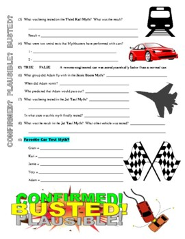 Mythbusters : Planes, Trains, and Automobiles Special (video worksheet)