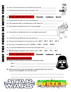 Mythbusters : Star Wars Myths (video worksheet)