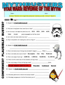 mythbusters star wars myths video worksheet by marvelous middle school. Black Bedroom Furniture Sets. Home Design Ideas