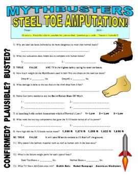 Mythbusters : Steel Toe Amputation (video worksheet)