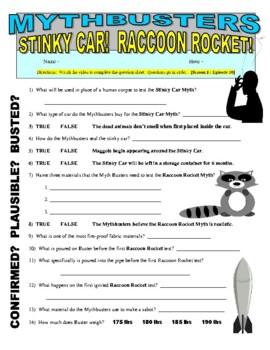 Mythbusters : Stinky Car & Raccoon Rocket (video worksheet)