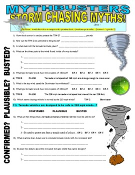 Mythbusters : Storm Chasing Myths (video worksheet)