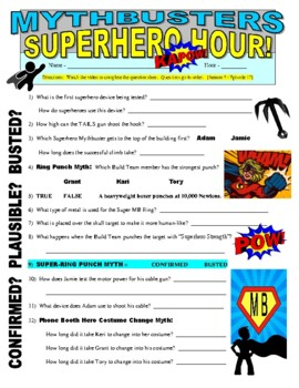 Mythbusters : Superhero Special (video worksheet)