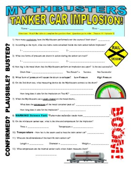 Mythbusters : Tanker Crush (video worksheet)