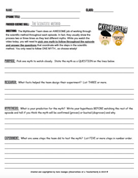 Mythbusters the scientific method skills sheet by kara doenges mythbusters the scientific method skills sheet ibookread