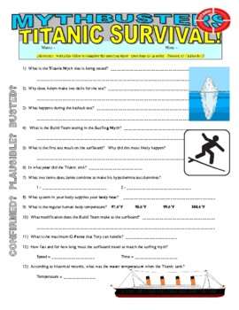 mythbusters titanic survival video worksheet by marvelous middle school. Black Bedroom Furniture Sets. Home Design Ideas