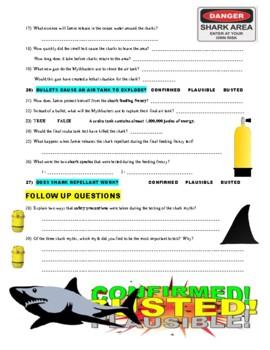 Mythbusters : VS JAWS (science video worksheet)