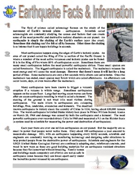 Earthquake Worksheet | Teachers Pay Teachers