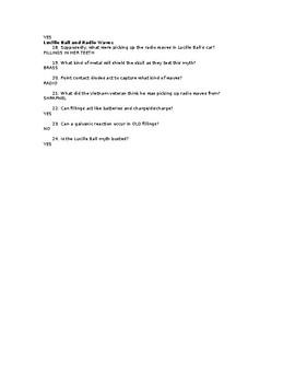 Mythbusters - Video Worksheet Key - Season 1 - Episode 4