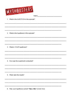 Mythbusters Worksheet
