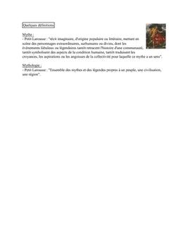Mythes et Légendes de Grèce (définitions)