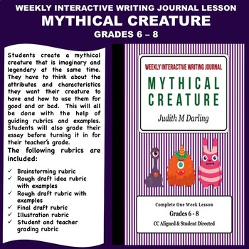 interactive weekly writing journal lesson mythical creature cc aligned