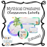 Mythical Creatures {Editable} Watercolor Classroom Labels