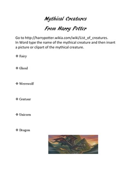 Mythical Creatures Webquest using Harry Potter