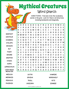 Mythical Creatures Word Search Puzzle