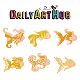Mythical Fish Art Clip Art - Great for Art Class Projects!