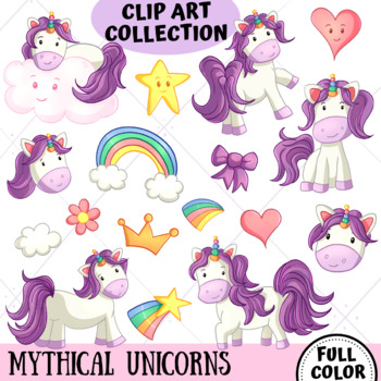 Mythical Unicorns Clip Art Collection
