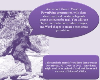 Mythical creature/legends PowerPoint research project lesson handouts