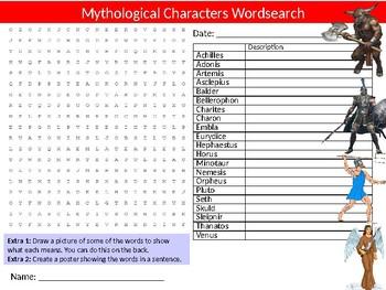 Mythological Characters Wordsearch Sheet Activity Keywords Legends Beliefs