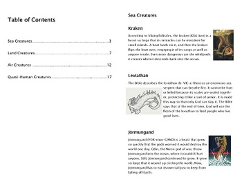 Mythological Creatures Booklet