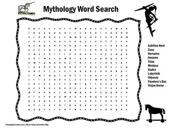 Mythology | Myth | Mythology Activity | Mythology Word Search