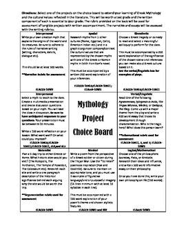 Mythology Choice Board