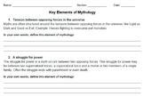 Mythology - Elements of Myth Scaffolded Notes and Worksheet