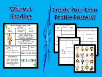 Mythology Greek Pantheon Poster Profile Cards Common Core