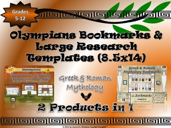 Mythology Greek & Roman Large Research Cards & Bookmarks