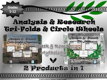 Mythology Greek & Roman Research Tri-Folds & Circle Graphic Organizers