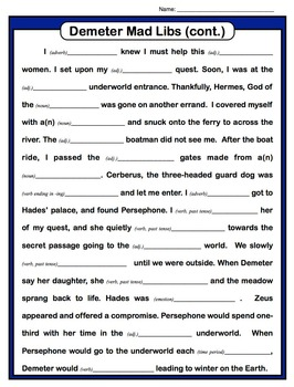 Ancient Greece & Demeter - Passage, Mad Libs, and Vocabulary