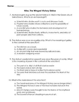 Mythology NIKE, WINGED VICTORY STATUE Worksheet + 10 Multiple Choice Read Comp Q
