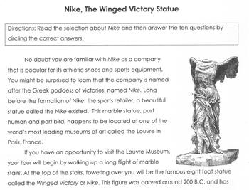 Mythology NIKE, WINGED VICTORY STATUE Worksheet + 10 Multiple Choice Read Comp Q