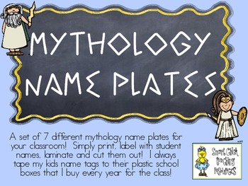 Mythology Nameplates with the Cursive Alphabet ~ 7 Differe