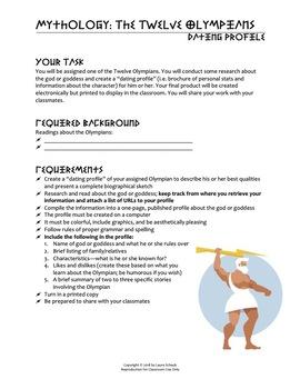 Mythology - Olympian Dating Profile