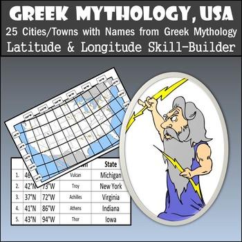Latitude & Longitude Activity - Greek Mythology, USA