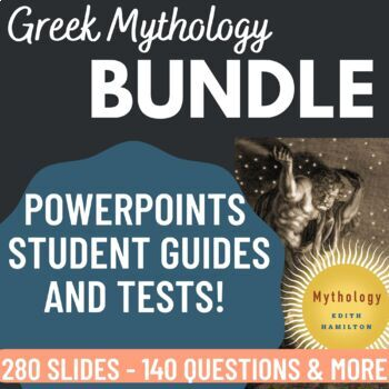 Mythology by Edith Hamilton 9 PowerPoints and 3 tests Bundle Pack