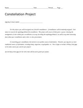 Mythology of Constellations Project