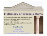 Mythology of Greece and Rome: a webquest