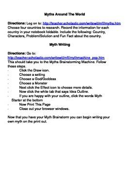 Myths Around the World Webquest