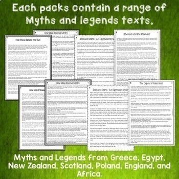 Myths and Legends Reading Comprehension Passages and Questions BIG BUNDLE