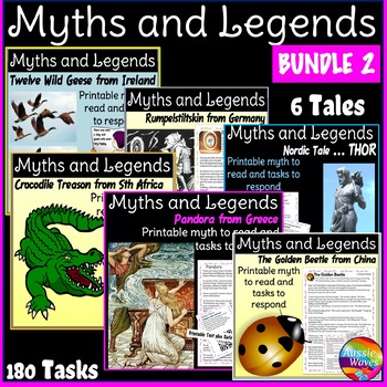 Myths & Legends BUNDLE Six Printable, cultural Stories & Task Cards